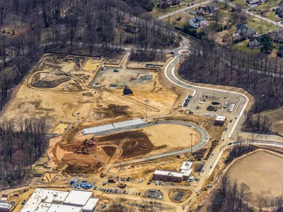 Aerial view of construction work at Crofton High School Site